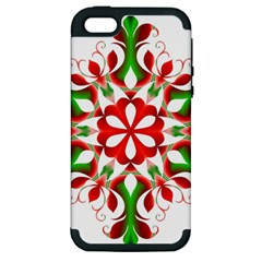 Red And Green Snowflake Apple Iphone 5 Hardshell Case (pc+silicone)