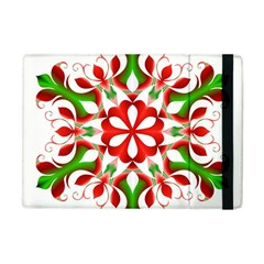 Red And Green Snowflake Apple iPad Mini Flip Case