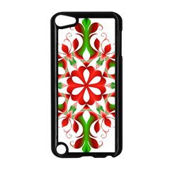 Red And Green Snowflake Apple Ipod Touch 5 Case (black)