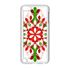 Red And Green Snowflake Apple Ipod Touch 5 Case (white)