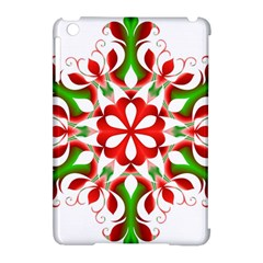 Red And Green Snowflake Apple Ipad Mini Hardshell Case (compatible With Smart Cover)