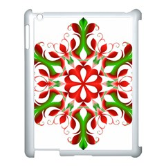 Red And Green Snowflake Apple iPad 3/4 Case (White)