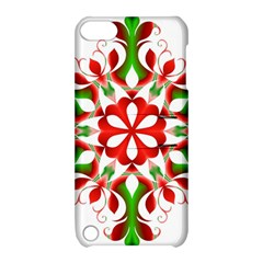 Red And Green Snowflake Apple Ipod Touch 5 Hardshell Case With Stand