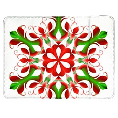 Red And Green Snowflake Samsung Galaxy Tab 7  P1000 Flip Case