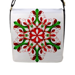 Red And Green Snowflake Flap Messenger Bag (l)