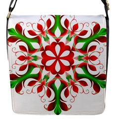 Red And Green Snowflake Flap Messenger Bag (S)