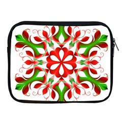 Red And Green Snowflake Apple iPad 2/3/4 Zipper Cases