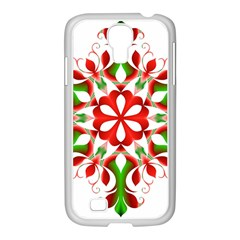 Red And Green Snowflake Samsung Galaxy S4 I9500/ I9505 Case (white)