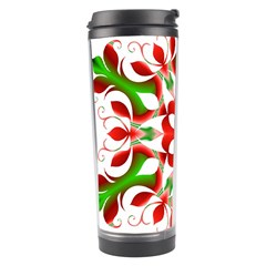 Red And Green Snowflake Travel Tumbler