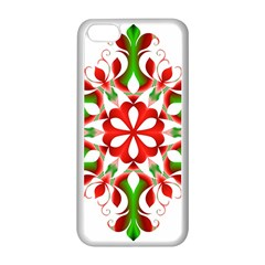 Red And Green Snowflake Apple Iphone 5c Seamless Case (white)