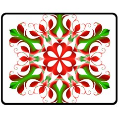 Red And Green Snowflake Double Sided Fleece Blanket (medium)
