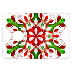 Red And Green Snowflake Kindle Fire HDX Flip 360 Case