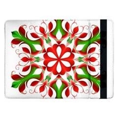 Red And Green Snowflake Samsung Galaxy Tab Pro 12 2  Flip Case