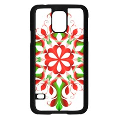 Red And Green Snowflake Samsung Galaxy S5 Case (black)