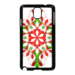 Red And Green Snowflake Samsung Galaxy Note 3 Neo Hardshell Case (black)