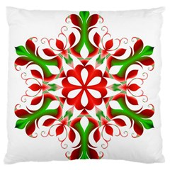 Red And Green Snowflake Large Flano Cushion Case (One Side)
