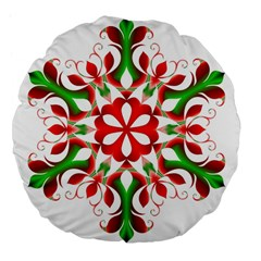 Red And Green Snowflake Large 18  Premium Flano Round Cushions