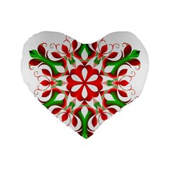 Red And Green Snowflake Standard 16  Premium Flano Heart Shape Cushions