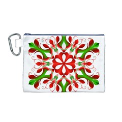 Red And Green Snowflake Canvas Cosmetic Bag (m)