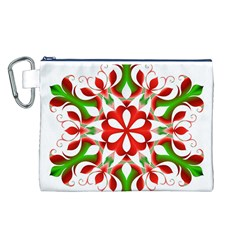Red And Green Snowflake Canvas Cosmetic Bag (L)