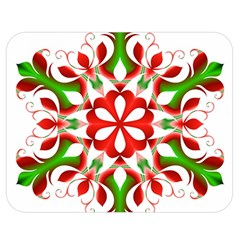 Red And Green Snowflake Double Sided Flano Blanket (Medium)