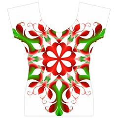 Red And Green Snowflake Women s V-Neck Cap Sleeve Top