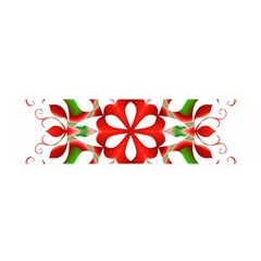 Red And Green Snowflake Satin Scarf (Oblong)