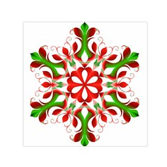 Red And Green Snowflake Small Satin Scarf (square)