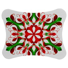 Red And Green Snowflake Jigsaw Puzzle Photo Stand (bow)