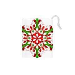Red And Green Snowflake Drawstring Pouches (XS)