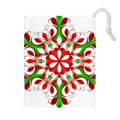 Red And Green Snowflake Drawstring Pouches (Extra Large)