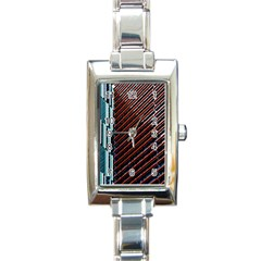 Red And Black High Rise Building Rectangle Italian Charm Watch