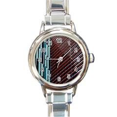 Red And Black High Rise Building Round Italian Charm Watch