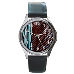 Red And Black High Rise Building Round Metal Watch