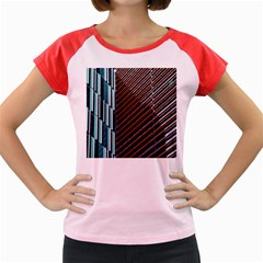Red And Black High Rise Building Women s Cap Sleeve T-Shirt