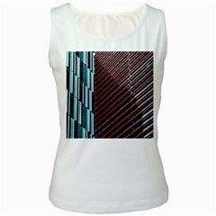Red And Black High Rise Building Women s White Tank Top