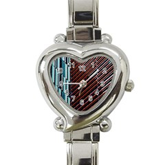 Red And Black High Rise Building Heart Italian Charm Watch