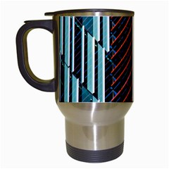 Red And Black High Rise Building Travel Mugs (White)