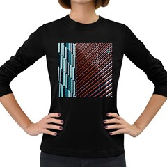 Red And Black High Rise Building Women s Long Sleeve Dark T Shirts