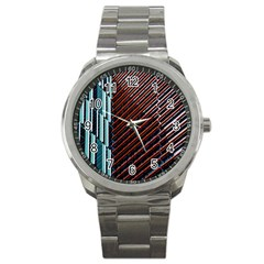 Red And Black High Rise Building Sport Metal Watch