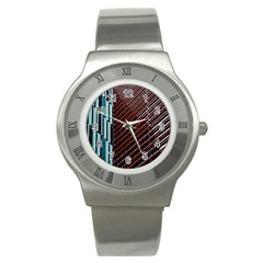 Red And Black High Rise Building Stainless Steel Watch