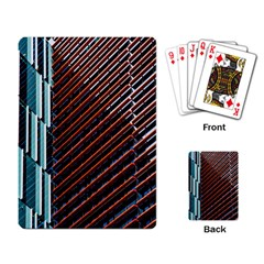 Red And Black High Rise Building Playing Card