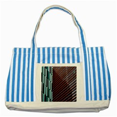 Red And Black High Rise Building Striped Blue Tote Bag