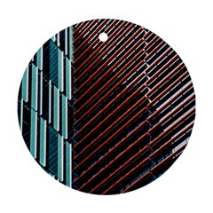 Red And Black High Rise Building Round Ornament (Two Sides)