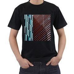 Red And Black High Rise Building Men s T-Shirt (Black)