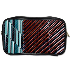 Red And Black High Rise Building Toiletries Bags