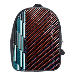 Red And Black High Rise Building School Bags (XL)