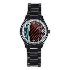 Red And Black High Rise Building Stainless Steel Round Watch