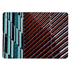 Red And Black High Rise Building Samsung Galaxy Tab 10 1  P7500 Flip Case