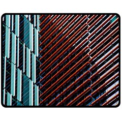 Red And Black High Rise Building Double Sided Fleece Blanket (medium)